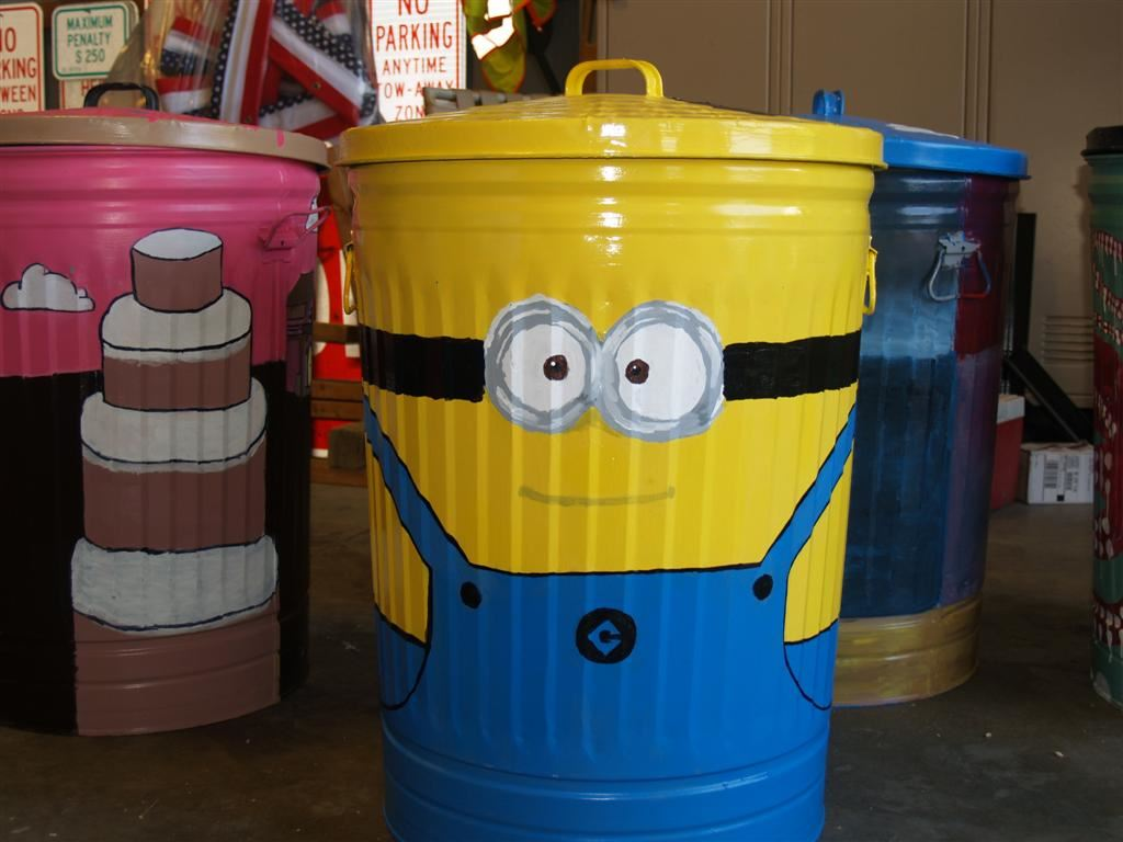 Painted Trashcan From First Flight Highschool