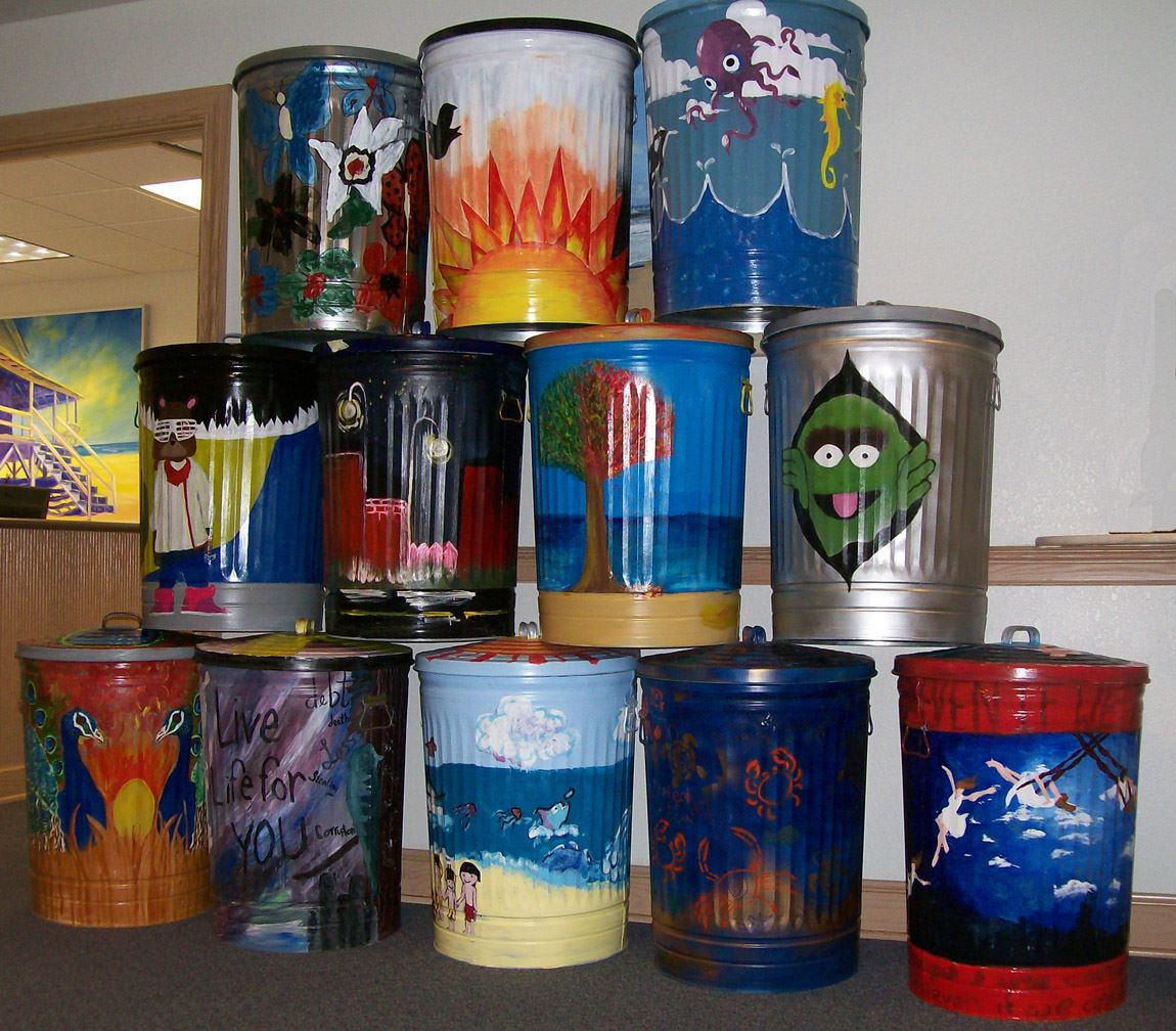 Trashcans Painted by First Flight High School Students