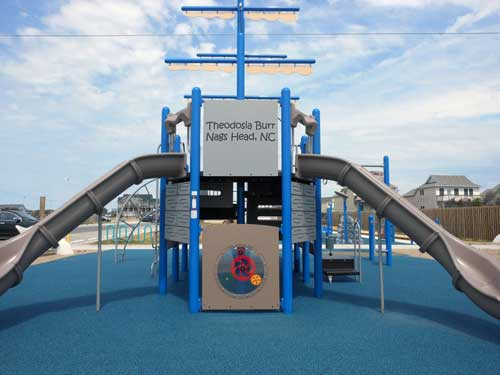 "Play Equipment Inscribed With Words ""Theodosia Burr, Nags Head, NC"""