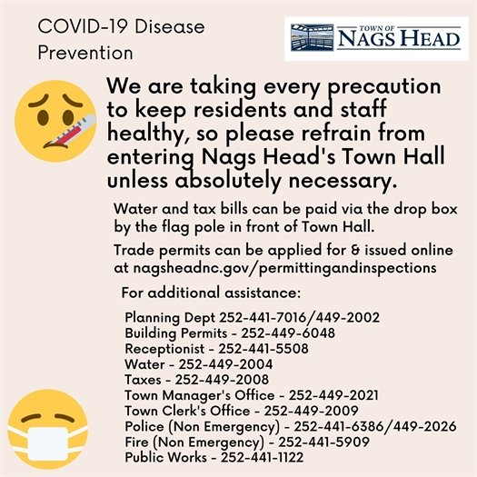 Please refrain from entering Town Hall if possible.
