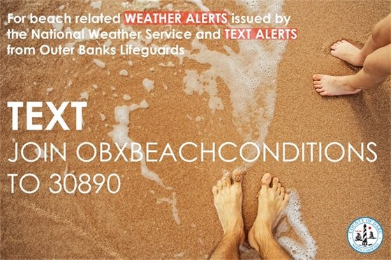 Text Join OBXBeachConditions to 30890 for beach condition information.