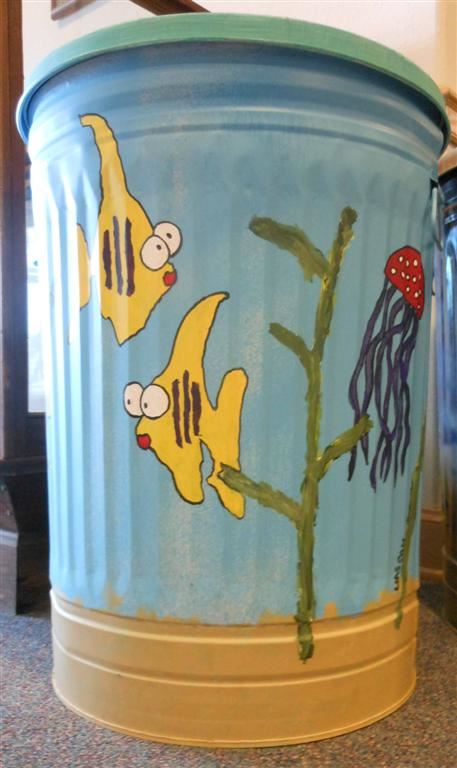 Painted Trashcan