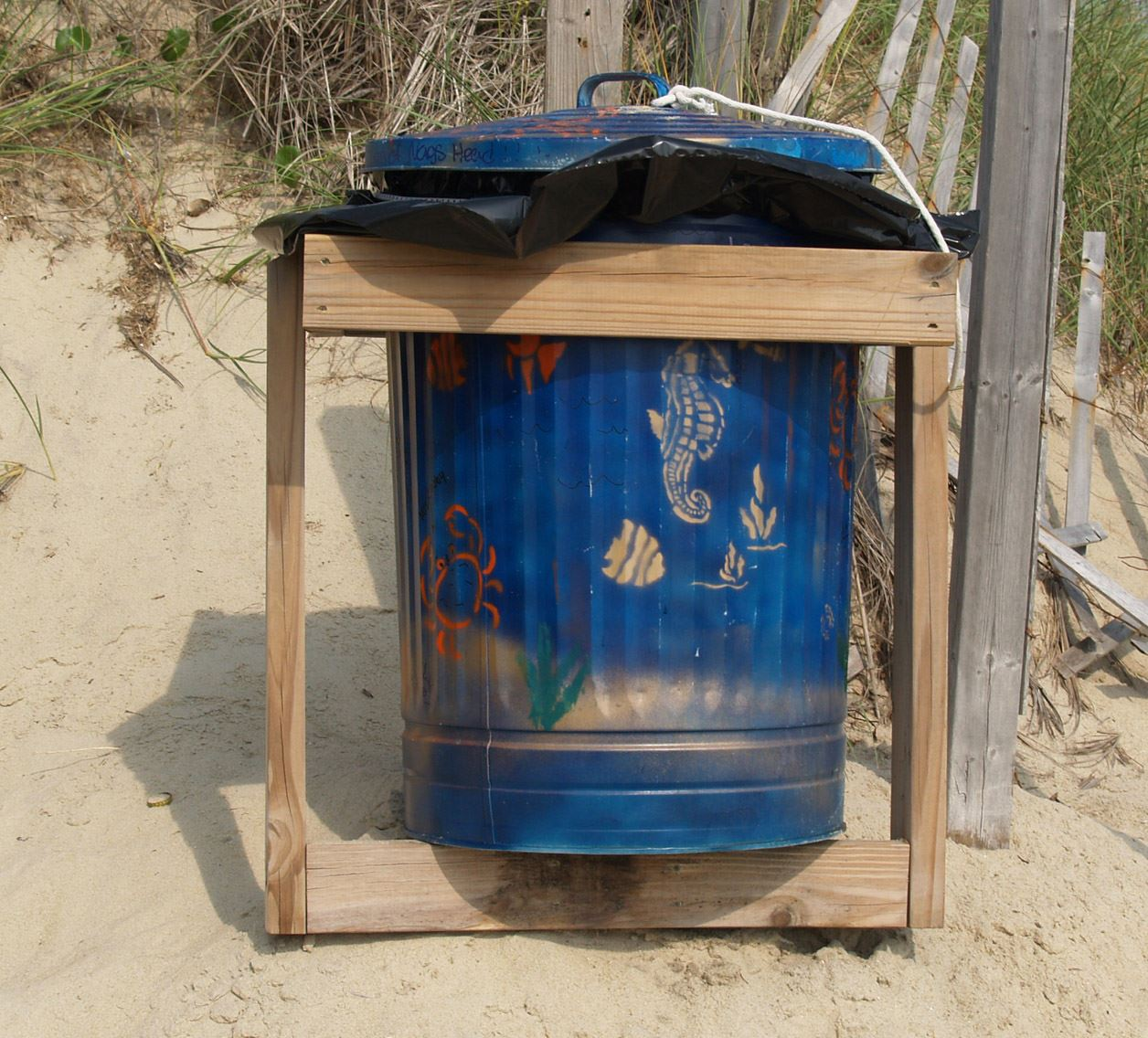 Trashcan Painted by Girl Scout Troop 2116