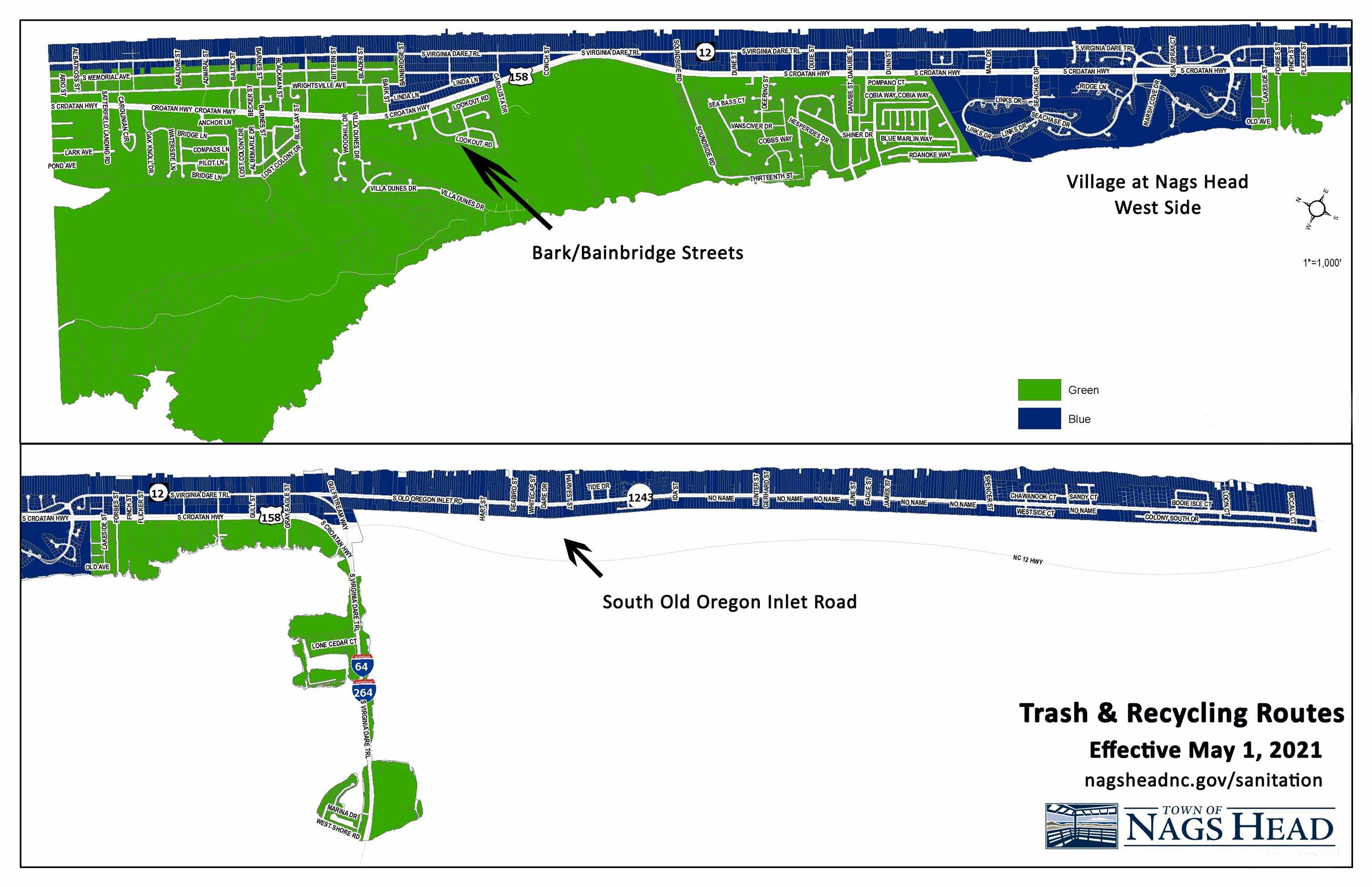 March 2021 Trash Routes Nags Head